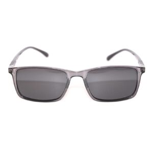 Sunrise sunglass frame in transparent gray with tinted lenses.
