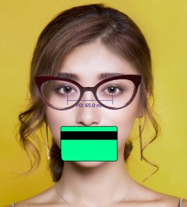 Image showing how to take a selfie with glasses and card.