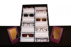Consultant starter kit featuring display case, 8 frames, and 2 mirrors.