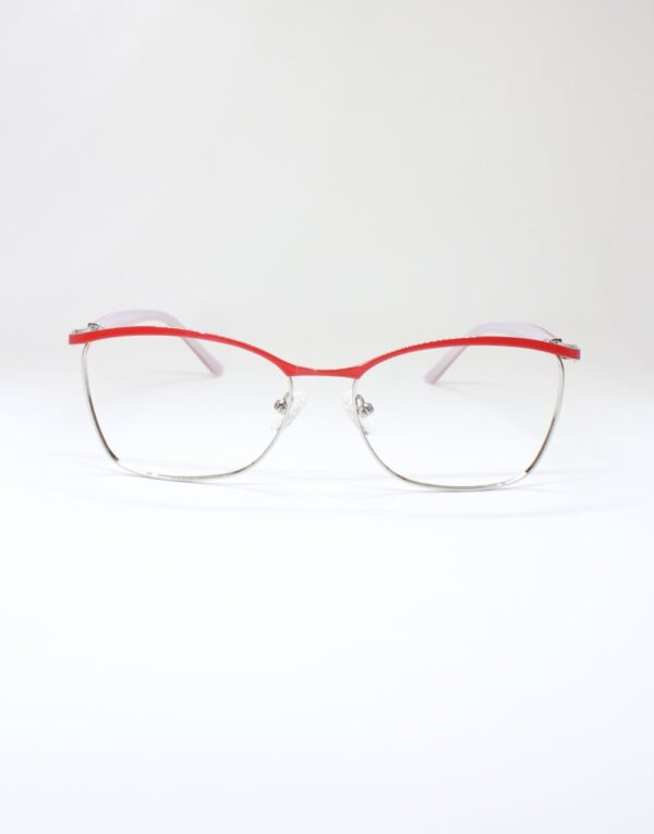 Red and silver metal, lightweight glasses for women